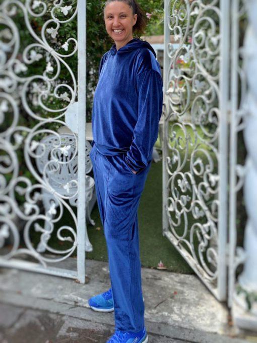 pantaloni donna Kaos in ciniglia blu modello tuta con polsini