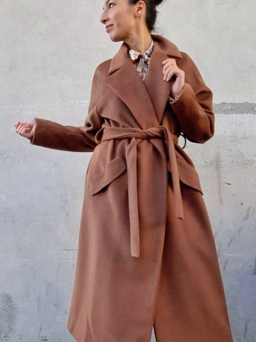 cappotto donna Kaos lungo allacciatura in vita con cintura