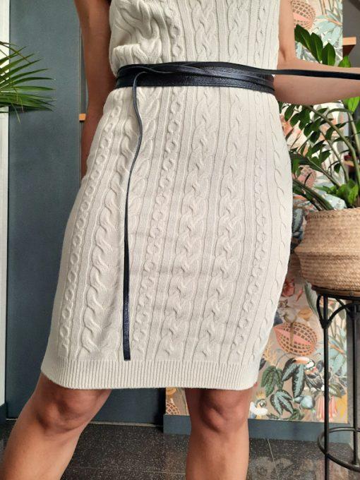 gonna longuette in maglia Kaos lavorazione a trecce colore panna con cintura