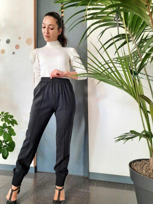 pantaloni donna Kaos con elastico in vita e polsino