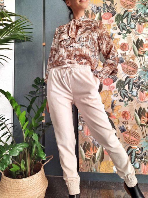 pantaloni donna Kaos con elastico in vita e polsino in tessuto a costine