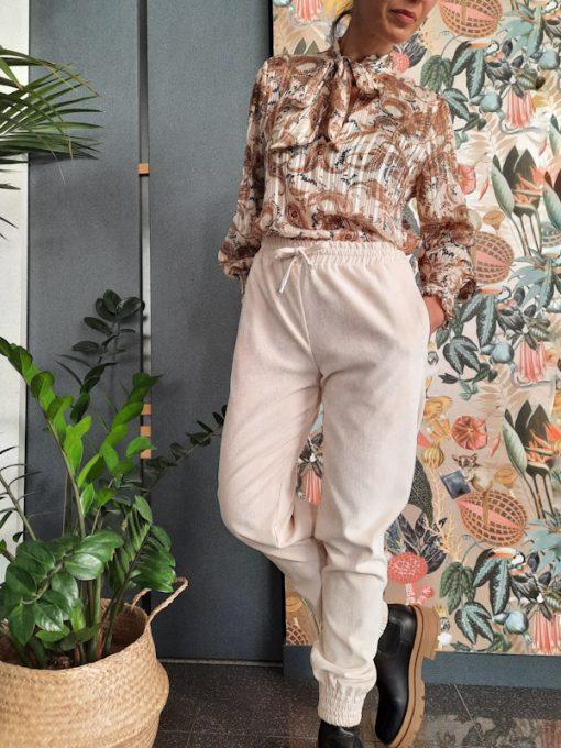 pantaloni donna Kaos con elastico in vita e polsino in tessuto a costine colore panna