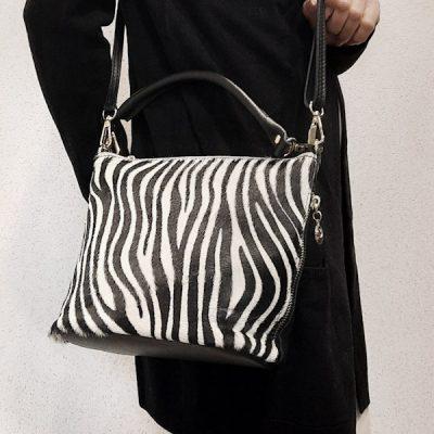borsa donna in vera pelle effetto cavallino stampa zebrata