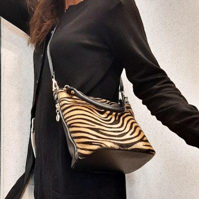 borsa in vera pelle effetto cavallino stampa zebrata
